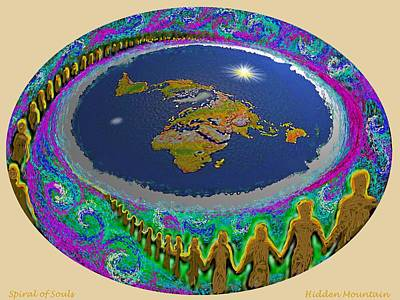 Painting - Spiral Of Souls Flat Earth by Hidden Mountain