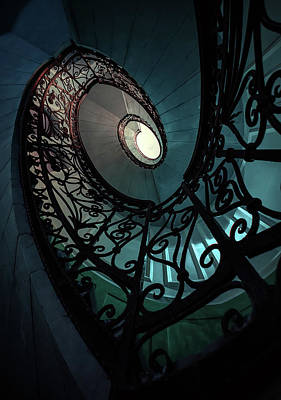 Art Print featuring the photograph Spiral Ornamented Staircase In Blue And Green Tones by Jaroslaw Blaminsky