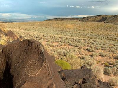 Clear Sky Drawing - Spiral Petroglyph by Tim McCarthy