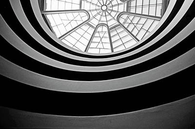 Spiral Staircase And Ceiling Inside The Guggenheim Art Print by Sami Sarkis