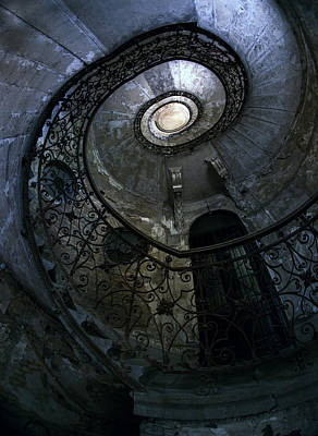 Mystery Door Photograph - Spiral Staircase In Blue And Gray Tones by Jaroslaw Blaminsky