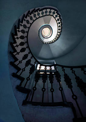 Photograph - Spiral Staircase In Blue Colors by Jaroslaw Blaminsky