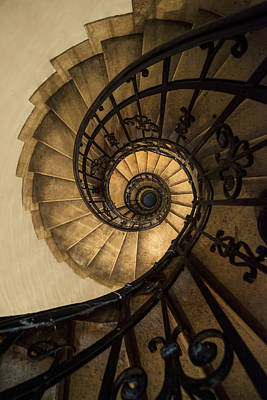 Mystery Door Photograph - Spiral Staircase In Brown And Beige Tones by Jaroslaw Blaminsky
