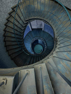 Photograph - Spiral Staircase In Brown And Blue Colors by Jaroslaw Blaminsky
