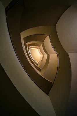 Spiral Staircase In Brown And Golden Tones Art Print