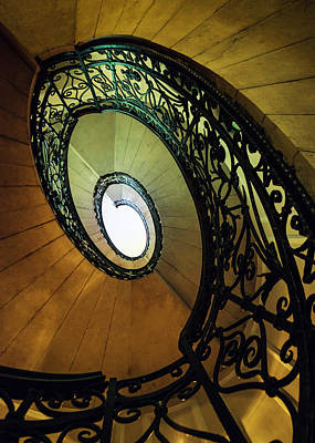 Mystery Door Photograph - Spiral Staircase In Brown And Green Tones by Jaroslaw Blaminsky