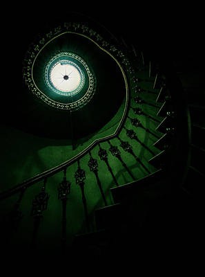 Nice House Photograph - Spiral Staircase In Green Tones by Jaroslaw Blaminsky