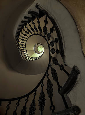 Photograph - Spiral Staircase In Grey And Golden Tones by Jaroslaw Blaminsky