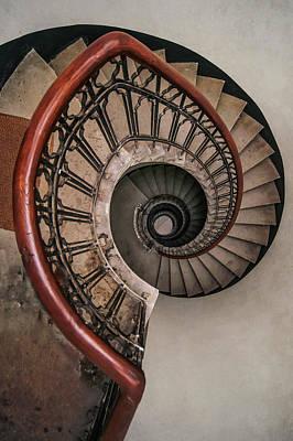 Photograph - Spiral Staircase In Pastel Brown Tones by Jaroslaw Blaminsky