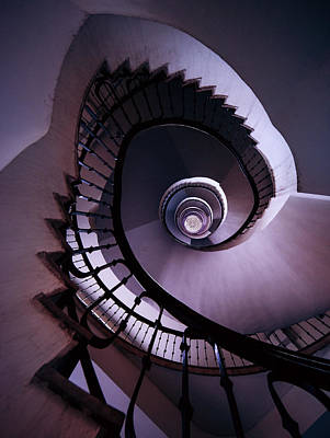 Spiral Staircase In Purple And Grey Art Print