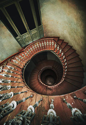 Spiral Staircase In Red And Brown Tones Print by Jaroslaw Blaminsky