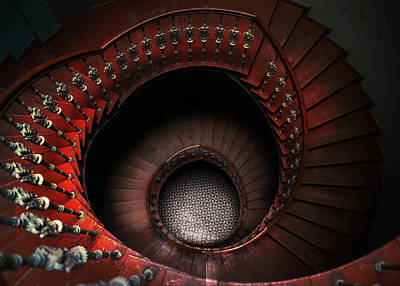 Photograph - Spiral Staircase In Red Tones by Jaroslaw Blaminsky