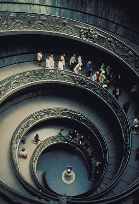 Spiral Staircase In Vatican 2 Art Print by Carl Purcell