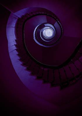 Photograph - Spiral Staircase In Violet Tones by Jaroslaw Blaminsky