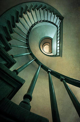 Photograph - Spiral Staircase In Warm Tones by Jaroslaw Blaminsky