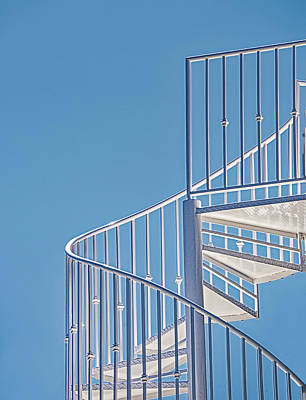 Photograph - Spiral Staircase On Blue Sky by Gary Slawsky