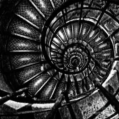 Digital Art - Spiral Staircase Paris France by Edward Fielding