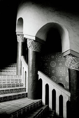 Black And White Art Mixed Media - Spiral Stairs- Black And White Photo By Linda Woods by Linda Woods