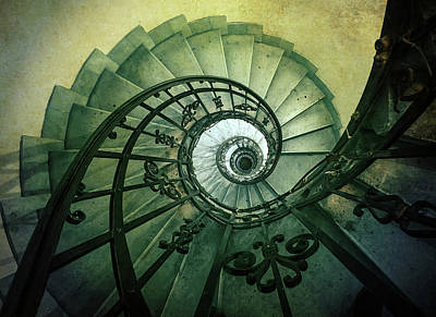 Art Print featuring the photograph Spiral Stairs In Green Tones by Jaroslaw Blaminsky