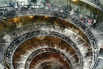 Photograph -  Spiral Stairs Of The Vatican Museum by Brandon Bourdages