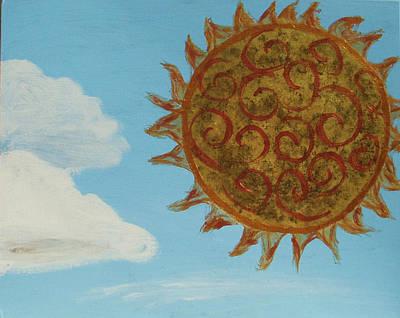 Wall Art - Painting - Spiral Sun by Helen Krummenacker