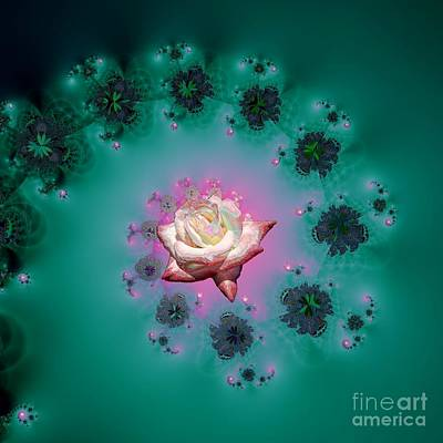 Spiral To A Rose Fractal 140 Art Print by Rose Santuci-Sofranko
