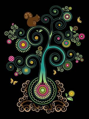 Digital Art - Spiral Tree Night by Serena King