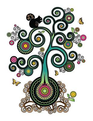 Digital Art - Spiral Tree by Serena King