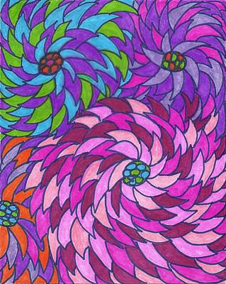 Painting - Spiraling Flowers by Wayne Potrafka