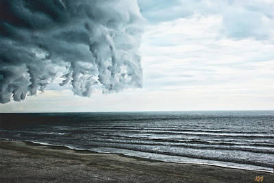 Spiraling Storm Clouds Over Daytona Beach, Florida Art Print