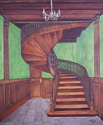 Wooden Stairs Painting - Spiraling Up by Judy Jones