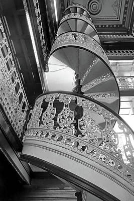Photograph - Spiraling Up - State Library - Iowa - Bw by Nikolyn McDonald