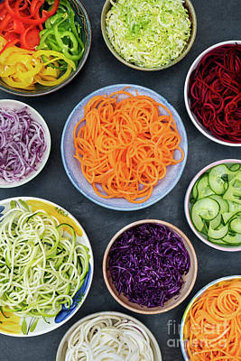 Zucchini Photograph - Spiralized Vegetables In Bowls by Tim Gainey