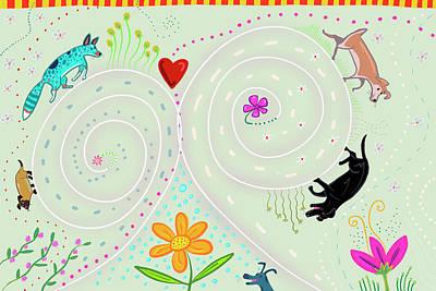 Cattle Dog Digital Art - Spirals Of Dogs by Marti McGinnis