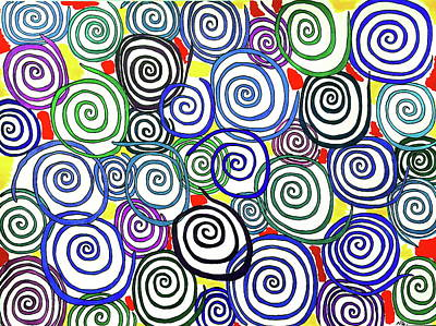 Abstract Shapes Drawing - Spirals Out Of Control by Neal Alicakos
