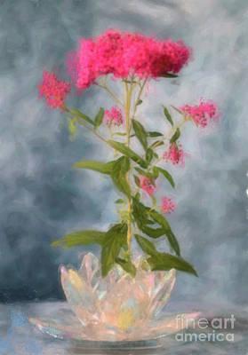Digital Watercolor Photograph - Spirea In Crystal by Betty LaRue