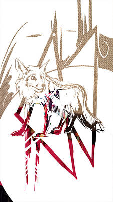 Painting - Spirit Animal . Fox by John Jr Gholson