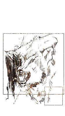 Painting - Spirit Animal . Wolf by John Jr Gholson