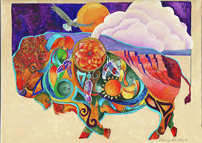 Painting - Spirit Buffaloo Totem by Sherry Shipley