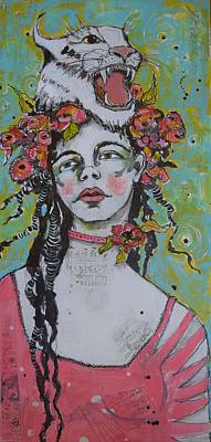 Portrait Mixed Media Painting - Spirit Guide by Jane Spakowsky