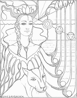 Atlantis Drawing - Spirit Guide Selmutee The Lemurian by Debra A Hitchcock