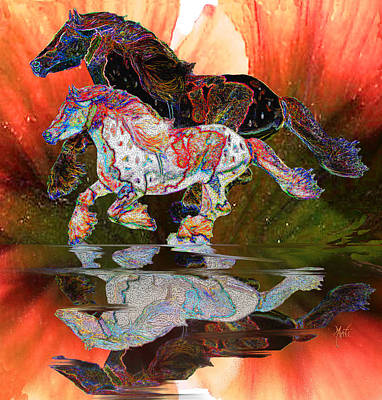 Digital Art - Spirit Horse II Leopard Gypsy Vanner by Michele Avanti