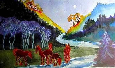 Painting - Spirit Horses by Esther Woods