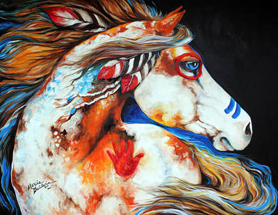 Landmarks Painting Royalty Free Images - Spirit Indian War Horse Royalty-Free Image by Marcia Baldwin
