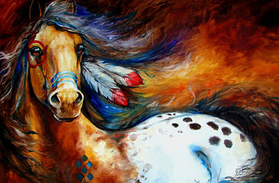 Indian Wall Art - Painting - Spirit Indian Warrior Pony by Marcia Baldwin