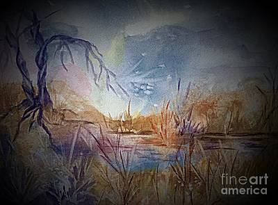 Painting - Spirit Lights Over The Marsh Vignette  by Ellen Levinson