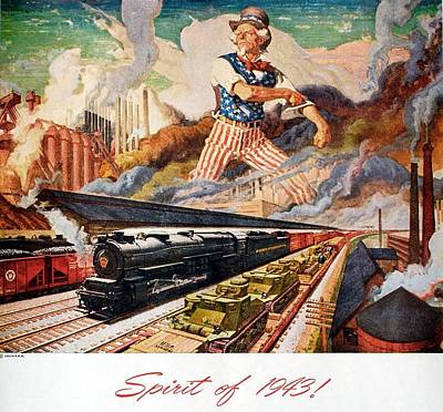 Vintage Locomotive Painting - Spirit Of 1943 - Vintage Steam Locomotive - Advertising Poster by Studio Grafiikka