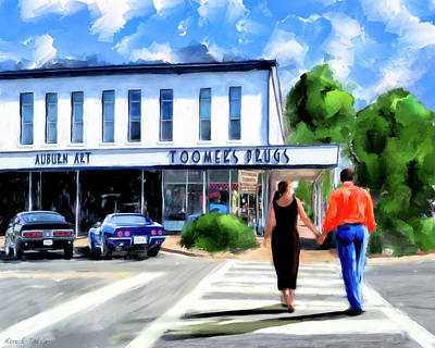 Art Print featuring the mixed media Spirit Of Auburn - Toomer's Corner by Mark Tisdale