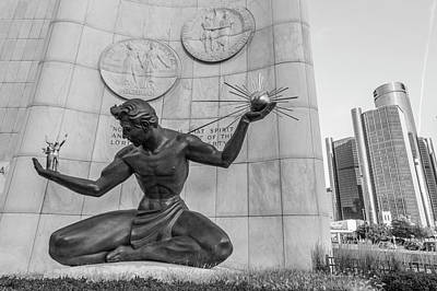 Photograph - Spirit Of Detroit And Renaissance Center  by John McGraw