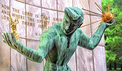 Painting - Spirit Of Detroit Bronze Statue by Christopher Arndt